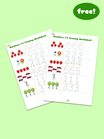 Free Tracing Worksheet for Numbers 1-6