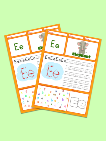 Letter E Tracing Worksheet