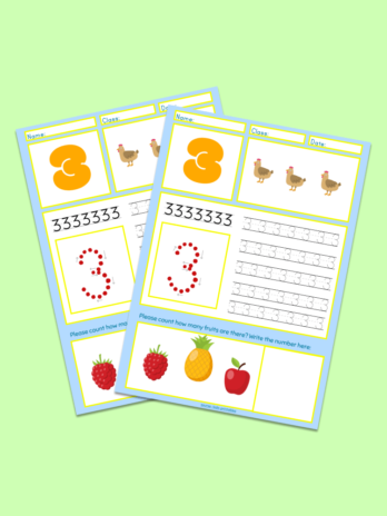 Number-3 Kindergarten Worksheet