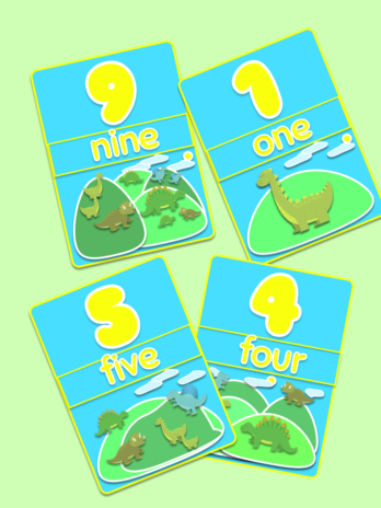 Dino Number Flashcards 1-10