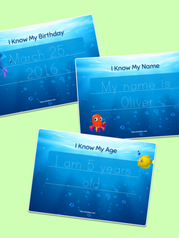 I know my age and birthday - custom tracing worksheet
