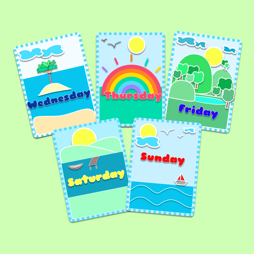 Days Of The Week Flashcards Kids Printables